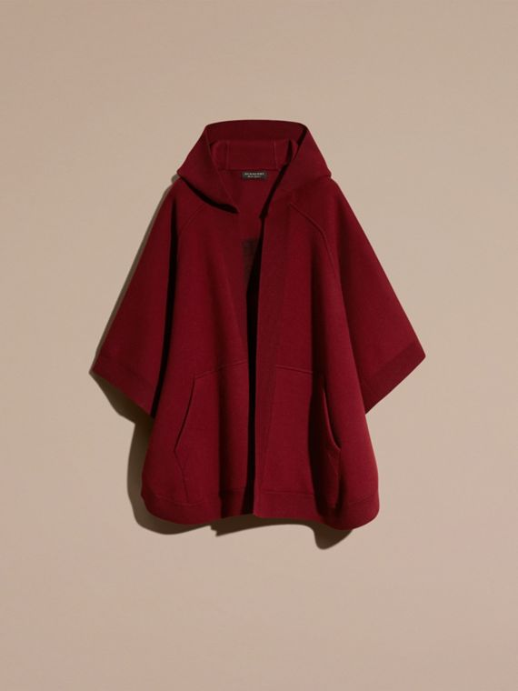 Deep red Wool Cashmere Blend Hooded Poncho Deep Red - cell image 3