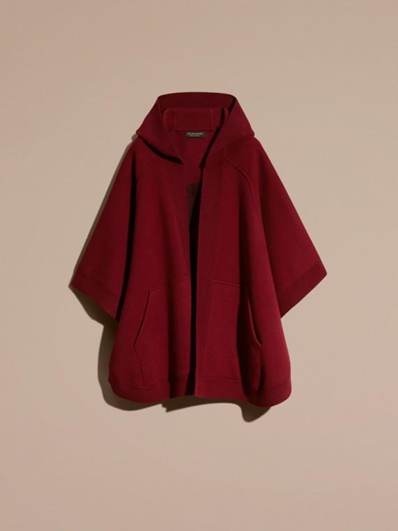 Rouge intense Poncho à capuche en laine et cachemire mélangés Rouge Intense - cell image 3