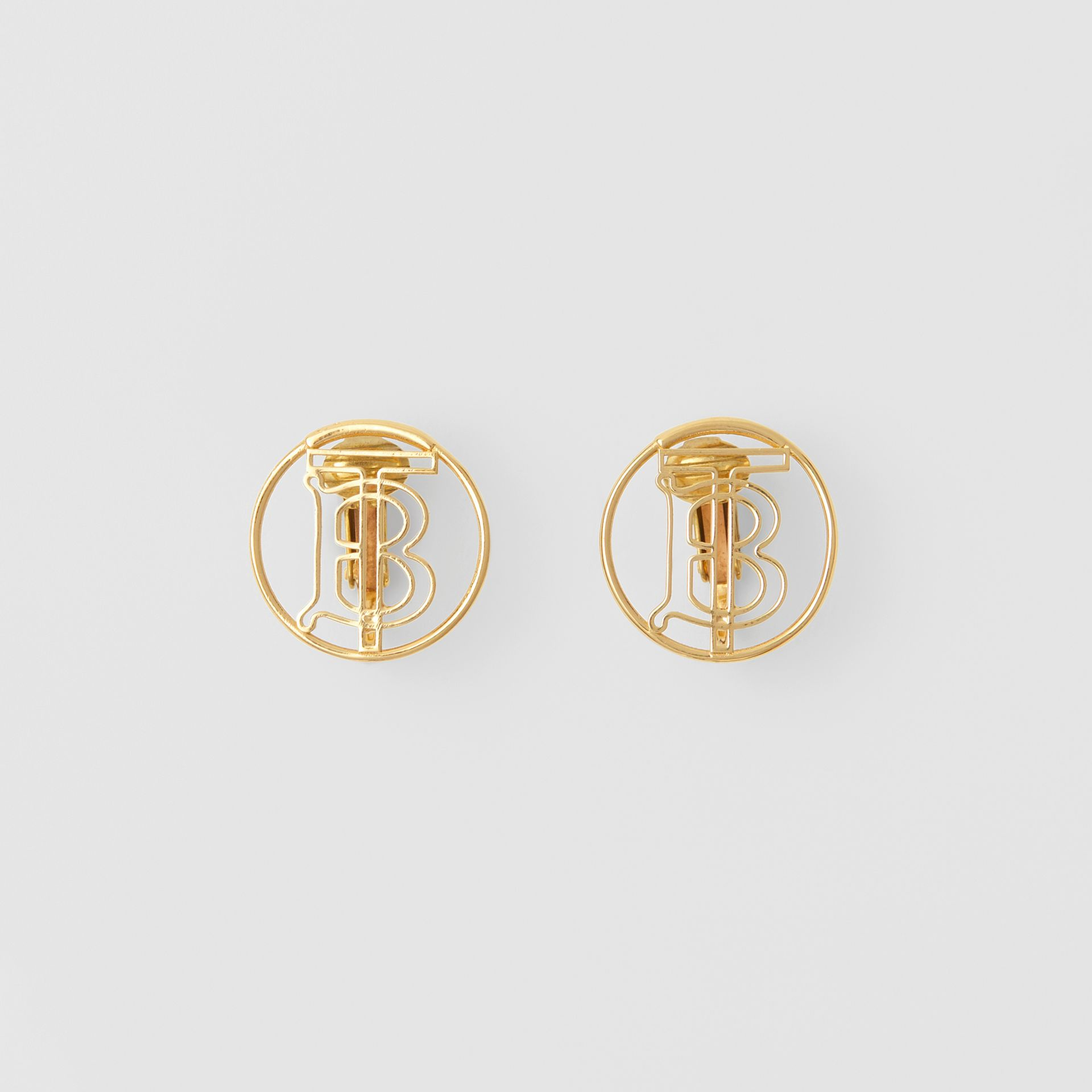 Gold-plated Monogram Motif Earrings in Light - Women | Burberry - gallery image 0