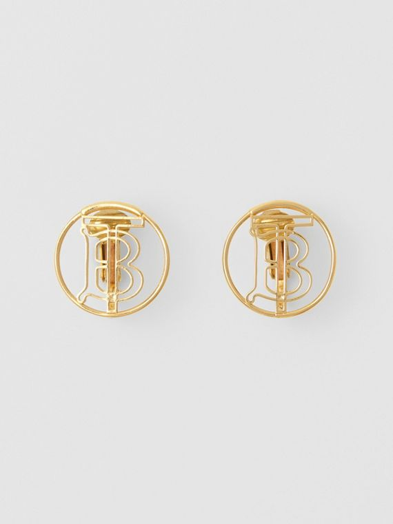 Gold-plated Monogram Motif Earrings in Light