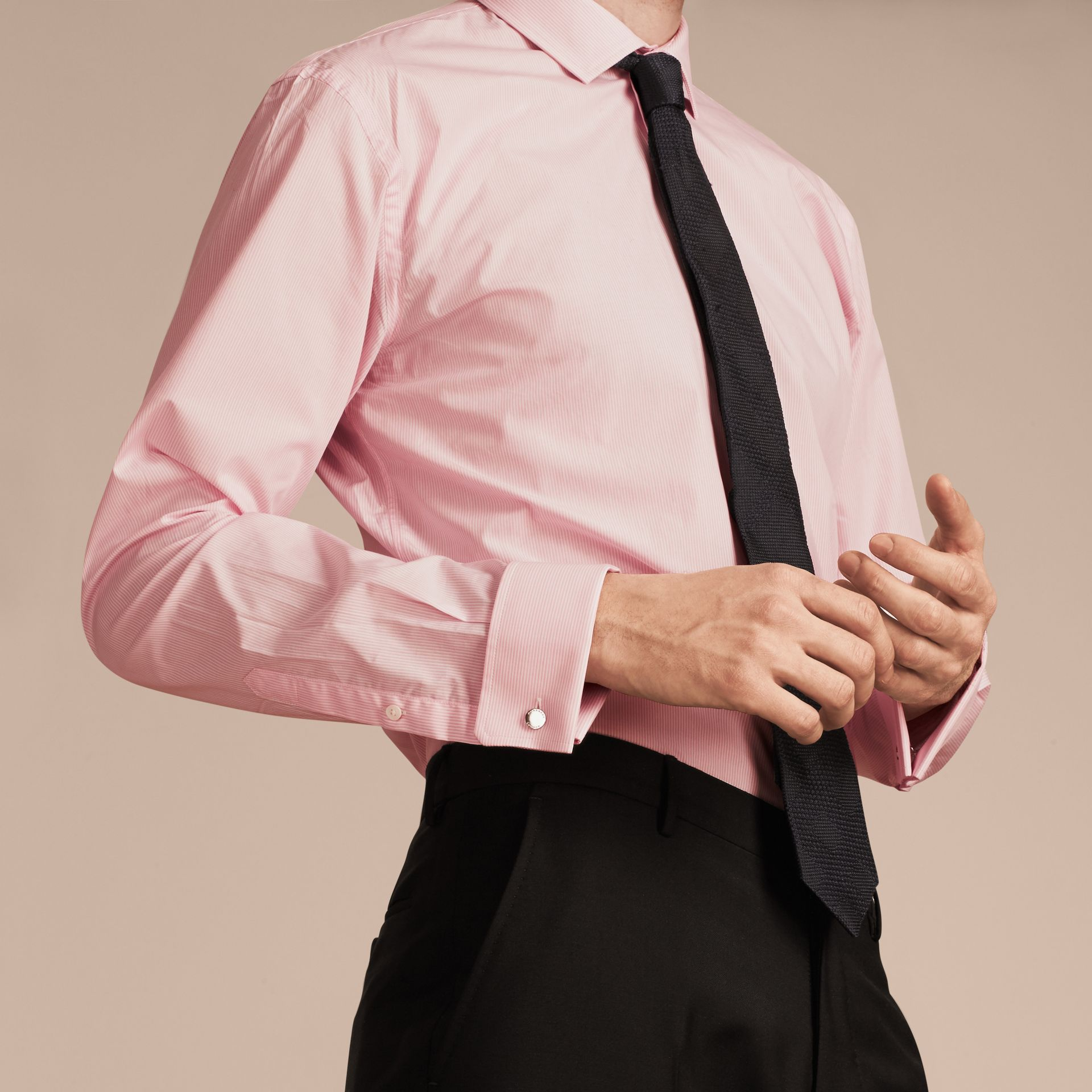 City pink Modern Fit Double-cuff Striped Cotton Poplin Shirt - gallery image 5