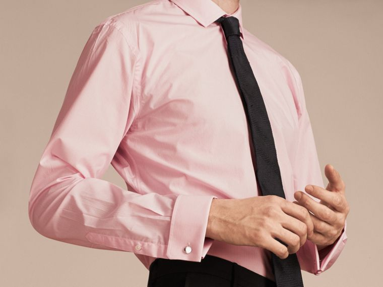 City pink Modern Fit Double-cuff Striped Cotton Poplin Shirt - cell image 4