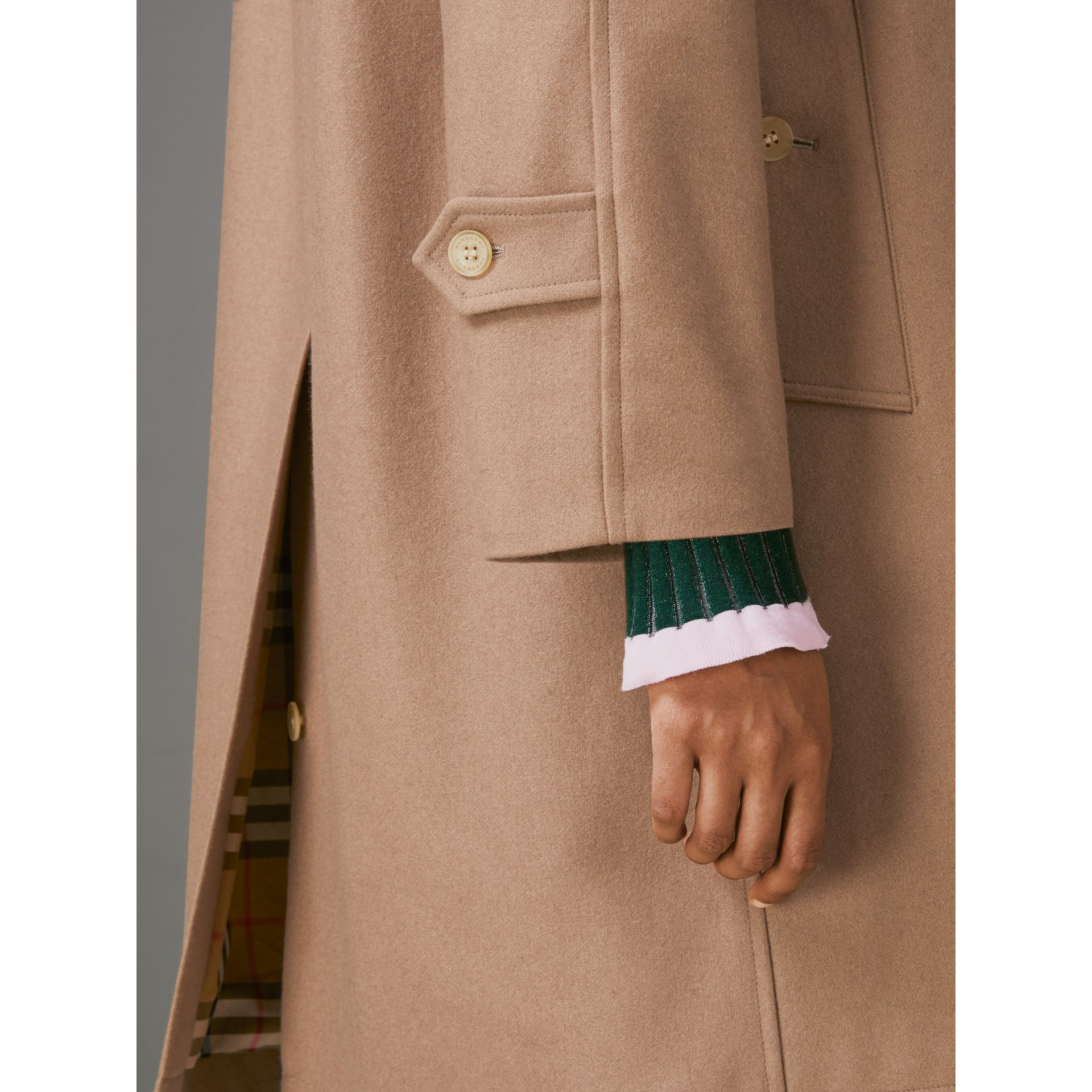 Cashmere Car Coat in Camel - Women | Burberry - gallery image 4