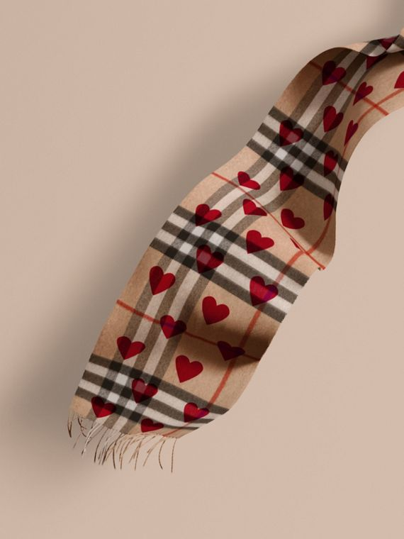 The Classic Cashmere Scarf in Check and Hearts Parade Red