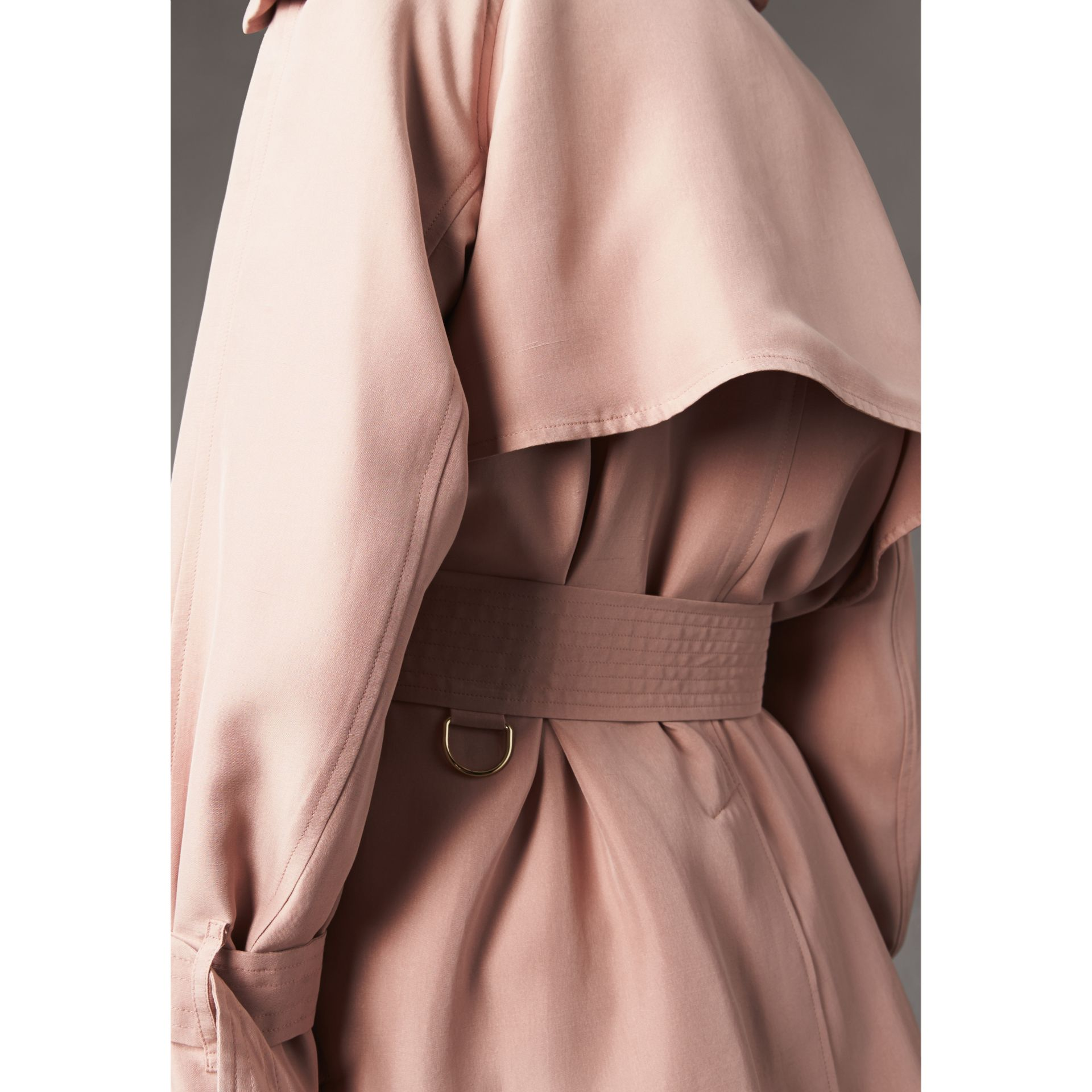 Silk Wrap Trench Coat in Ash Rose - gallery image 5