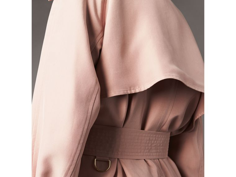 Silk Wrap Trench Jacket in Ash Rose - Women | Burberry - cell image 4