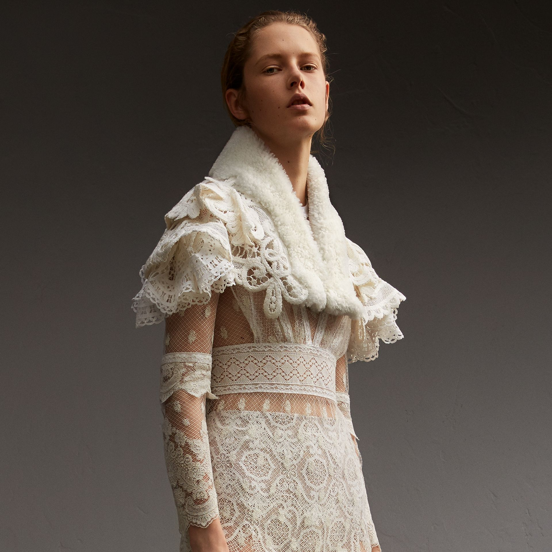Lace Capelet with Shearling Collar in White - Women | Burberry - gallery image 0