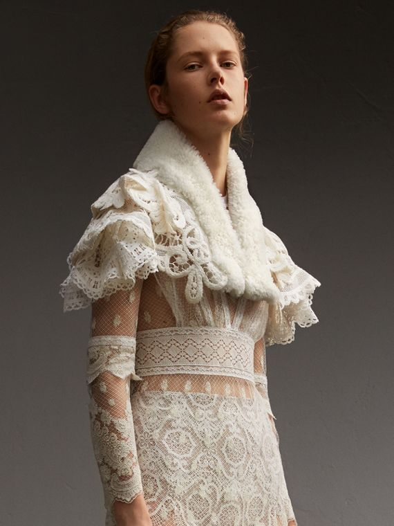 Lace Capelet with Shearling Collar - Women | Burberry