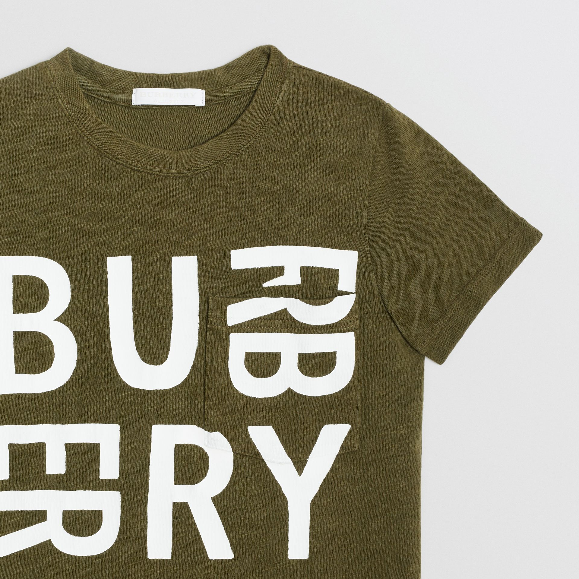 Logo Print Cotton T-shirt in Khaki | Burberry United Kingdom - gallery image 4