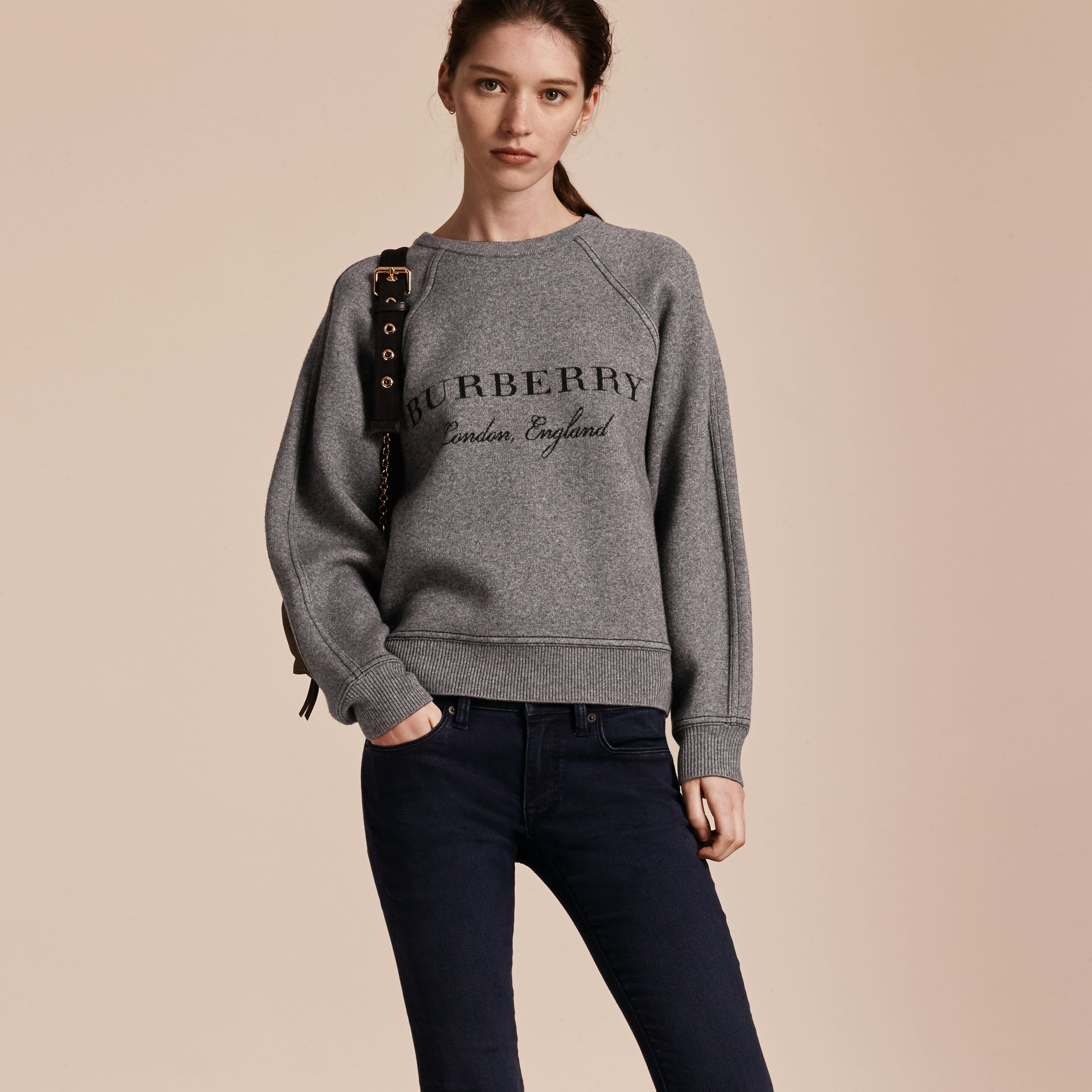 Topstitch Detail Wool Cashmere Blend Sweater in Mid Grey Melange - Women | Burberry - gallery image 6