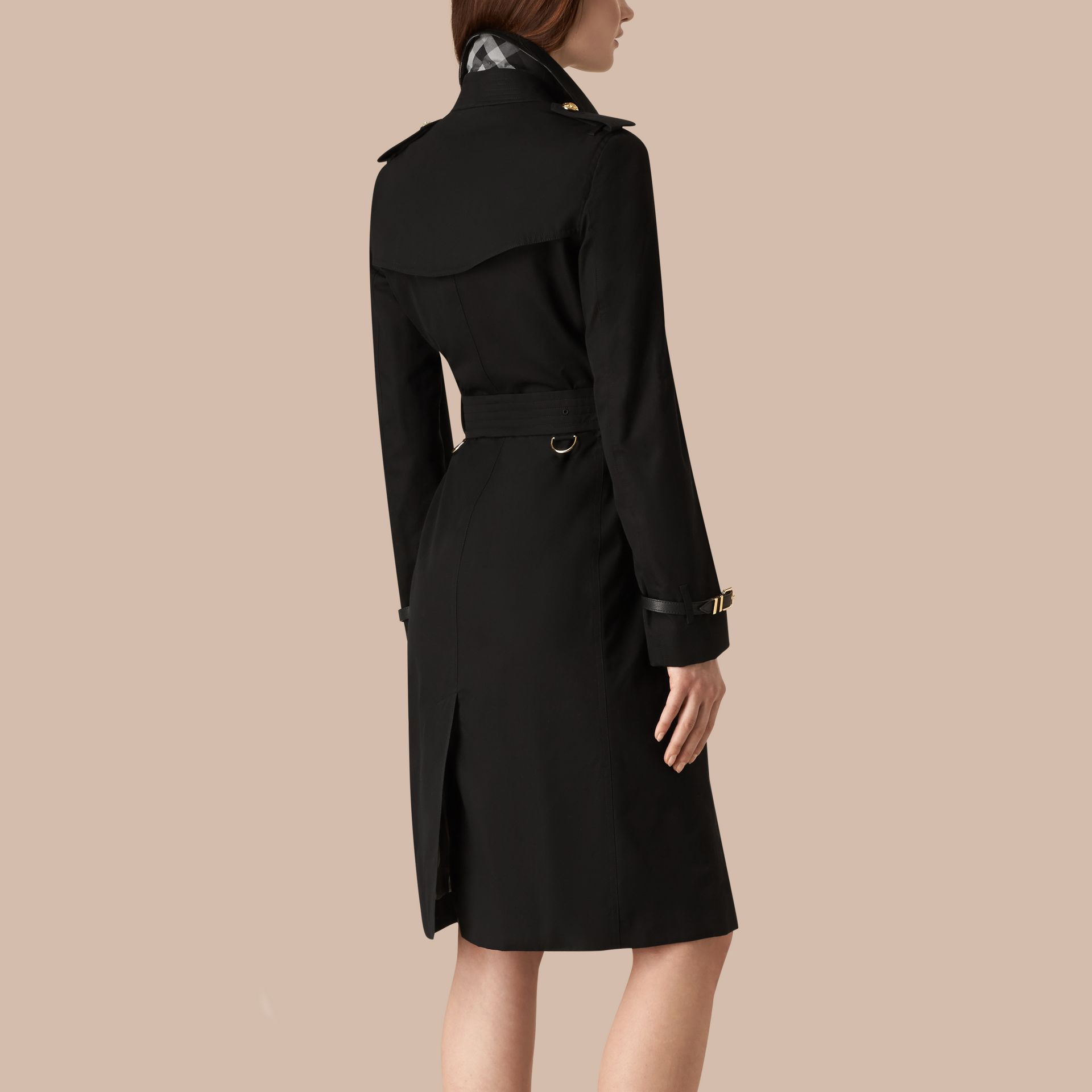 Black Military Button Cotton Gabardine Trench Coat - gallery image 3