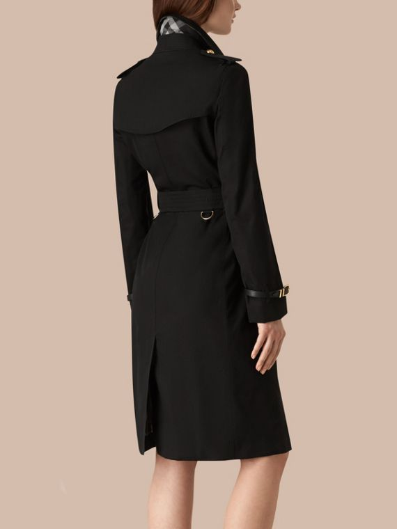 Black Military Button Cotton Gabardine Trench Coat - cell image 2