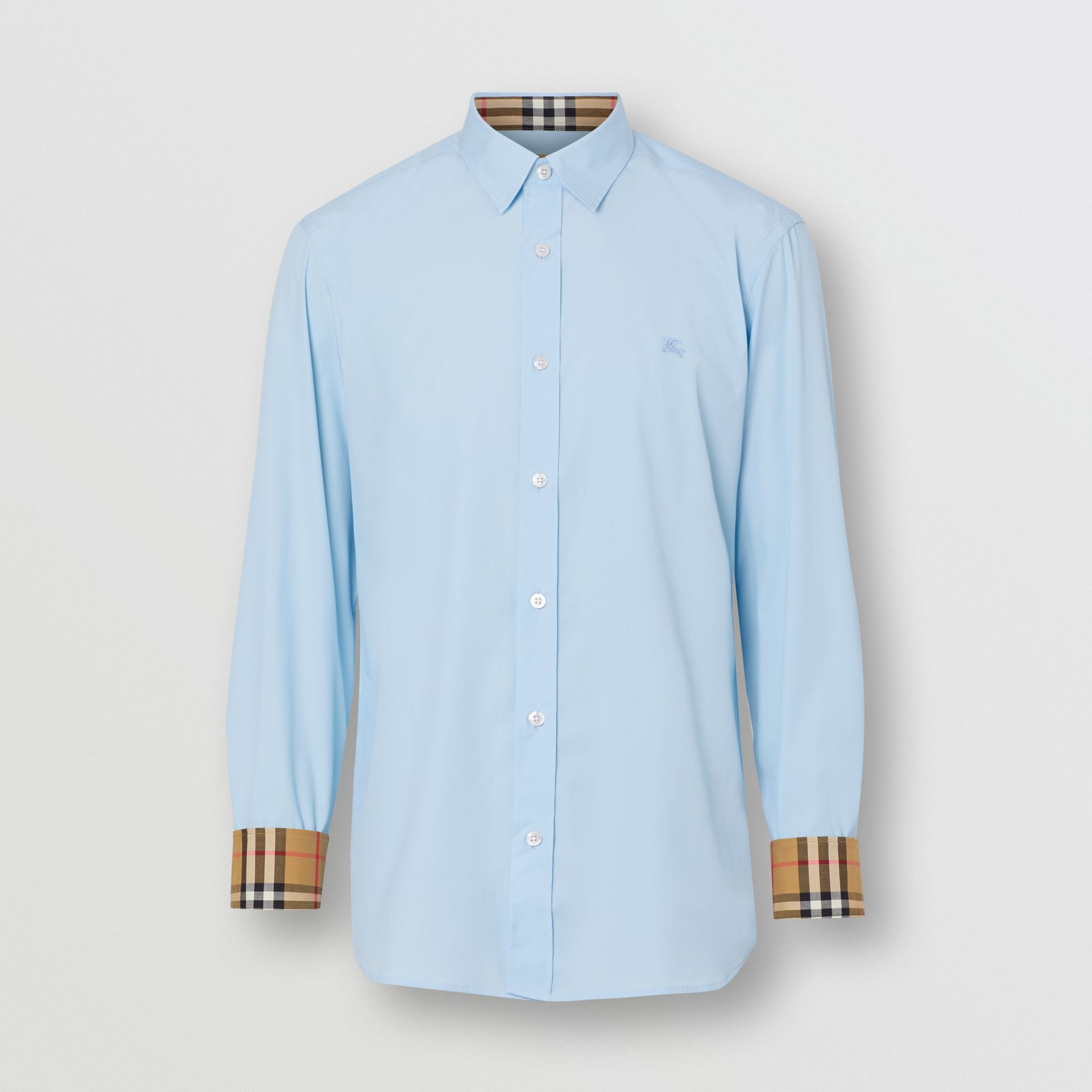 Stretch Cotton Poplin Shirt in Pale Blue - Men | Burberry United Kingdom - gallery image 3