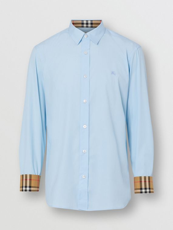 Stretch Cotton Poplin Shirt in Pale Blue