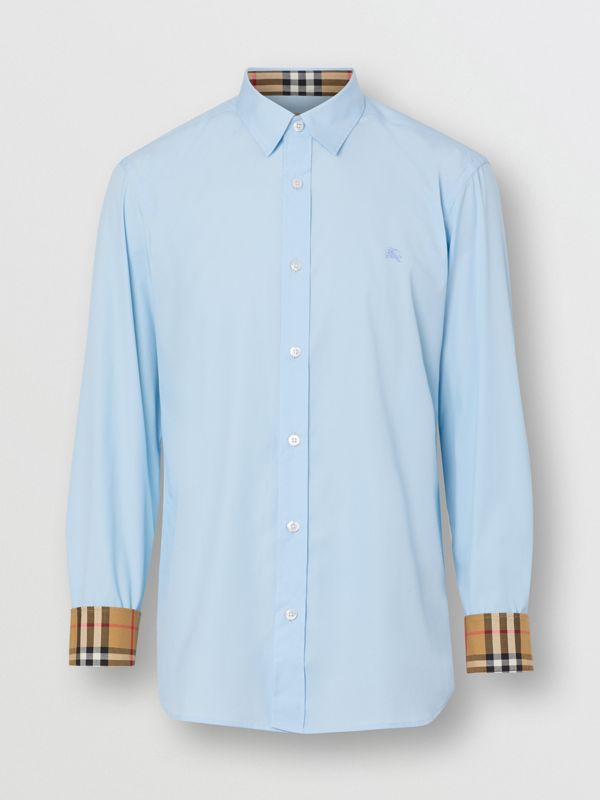Stretch Cotton Poplin Shirt in Pale Blue - Men | Burberry United Kingdom - cell image 3