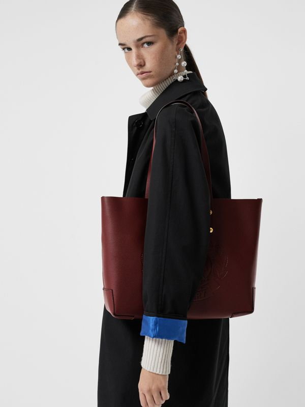 Small Embossed Crest Leather Tote in Burgundy | Burberry Australia - cell image 3