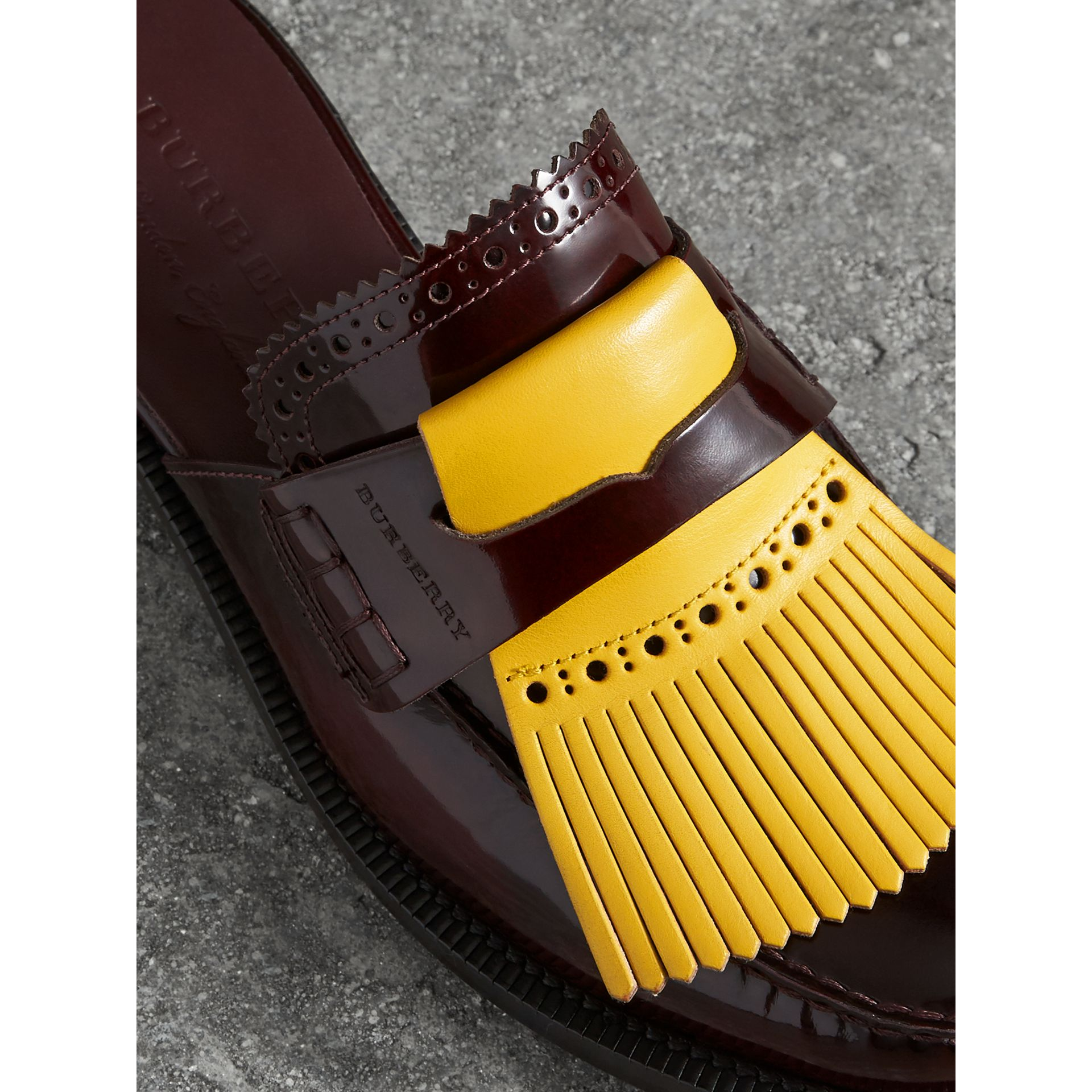 Contrast Kiltie Fringe Leather Mules in Burgundy - Women | Burberry - gallery image 1