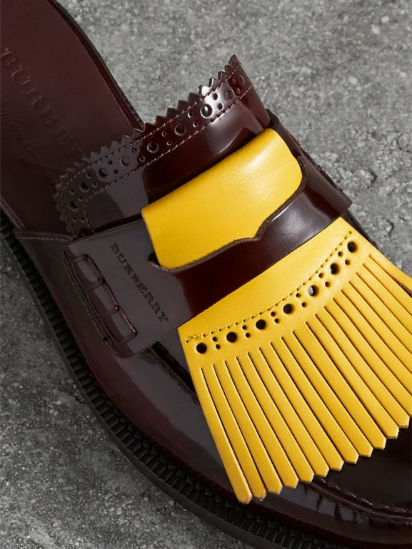 Contrast Kiltie Fringe Leather Mules in Burgundy - Women | Burberry - cell image 1
