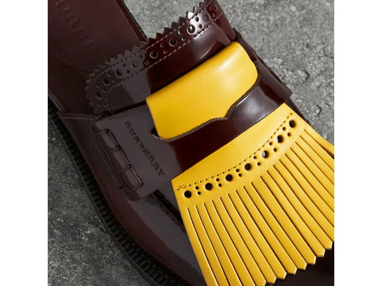 Contrast Kiltie Fringe Leather Mules in Burgundy - Women | Burberry Singapore - cell image 1