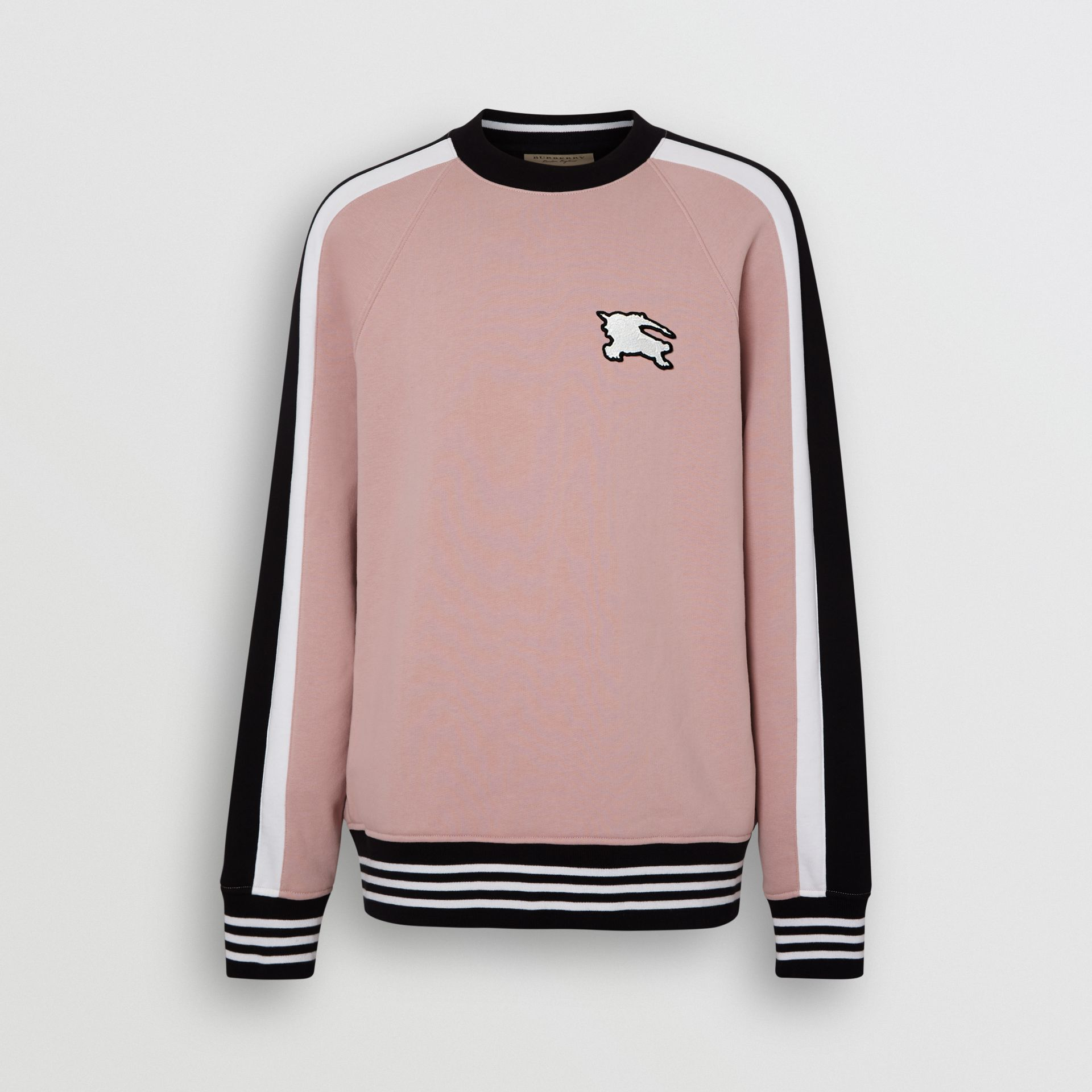 Stripe Detail Cotton Jersey Sweatshirt in Pale Orchid - Men | Burberry United Kingdom - gallery image 3