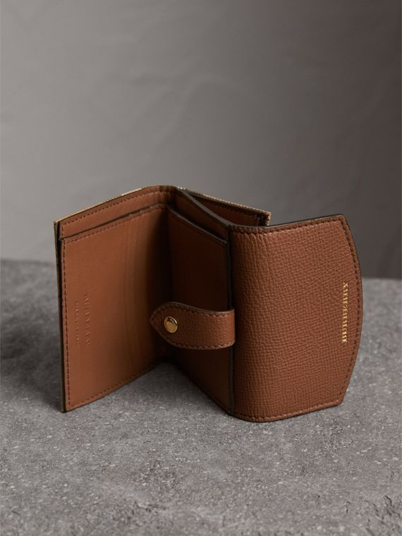 House Check and Leather Wallet in Tan - Women | Burberry Australia - cell image 3
