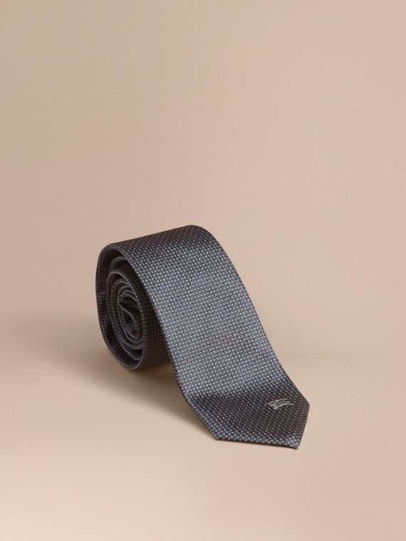 Modern Cut Patterned Silk Tie in Mid Grey