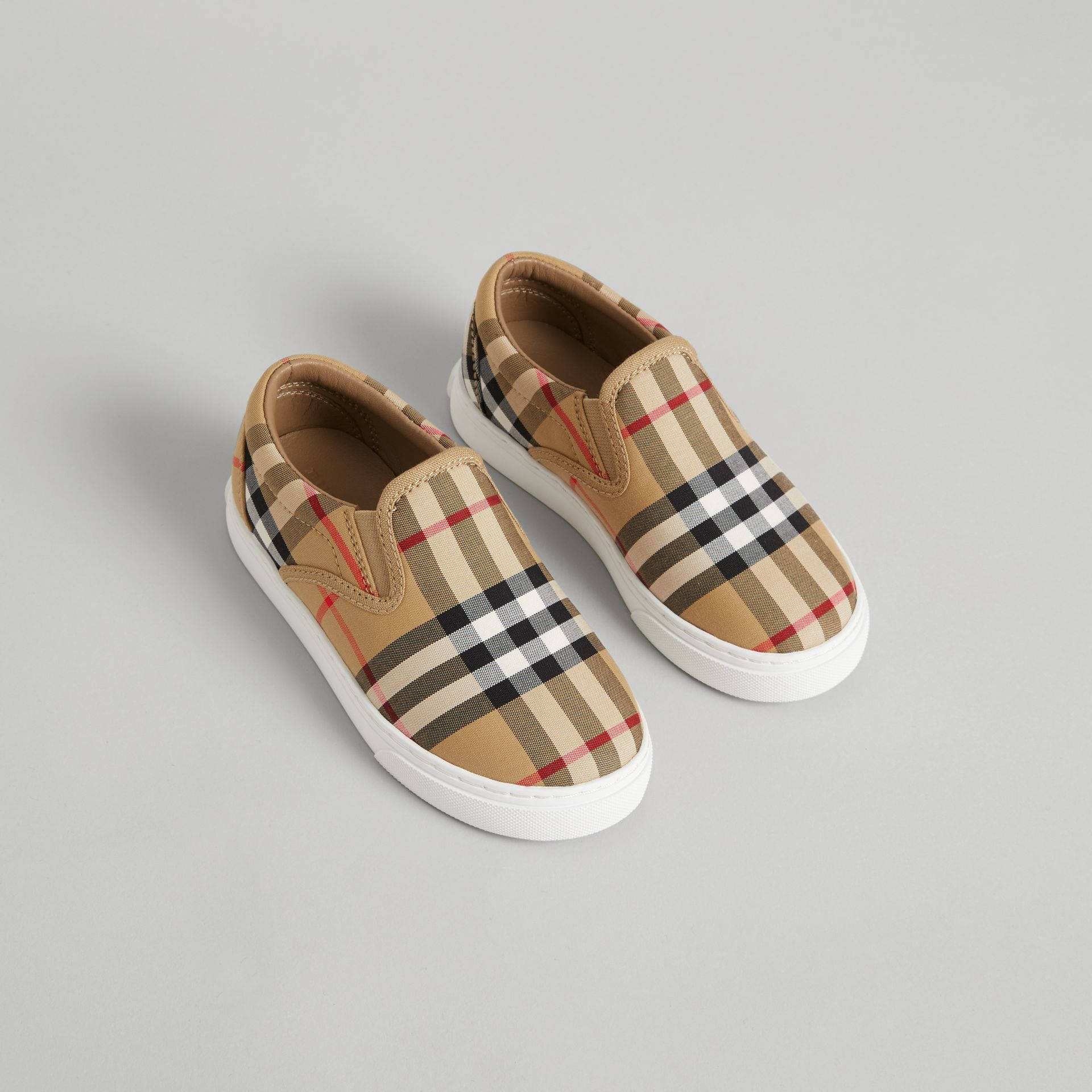 Vintage Check and Leather Slip-on Sneakers in Antique Yellow/optic White | Burberry - gallery image 0