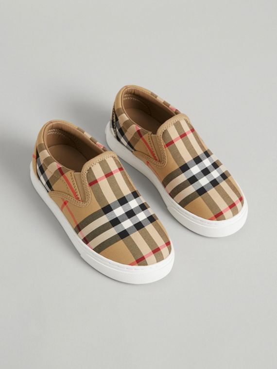Vintage Check and Leather Slip-on Sneakers in Antique Yellow/optic White