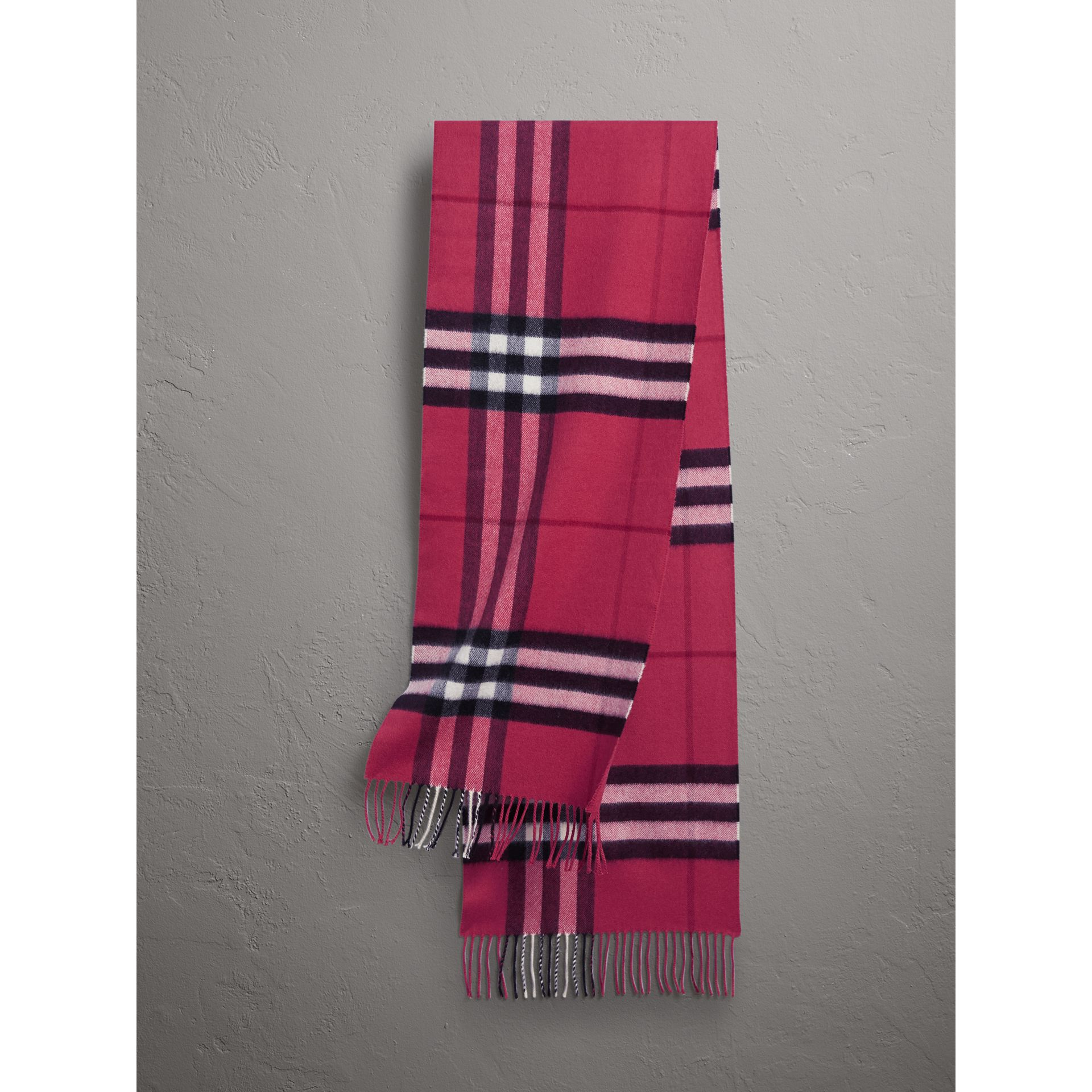 The Classic Check Cashmere Scarf in Fuchsia Pink | Burberry Canada - gallery image 1