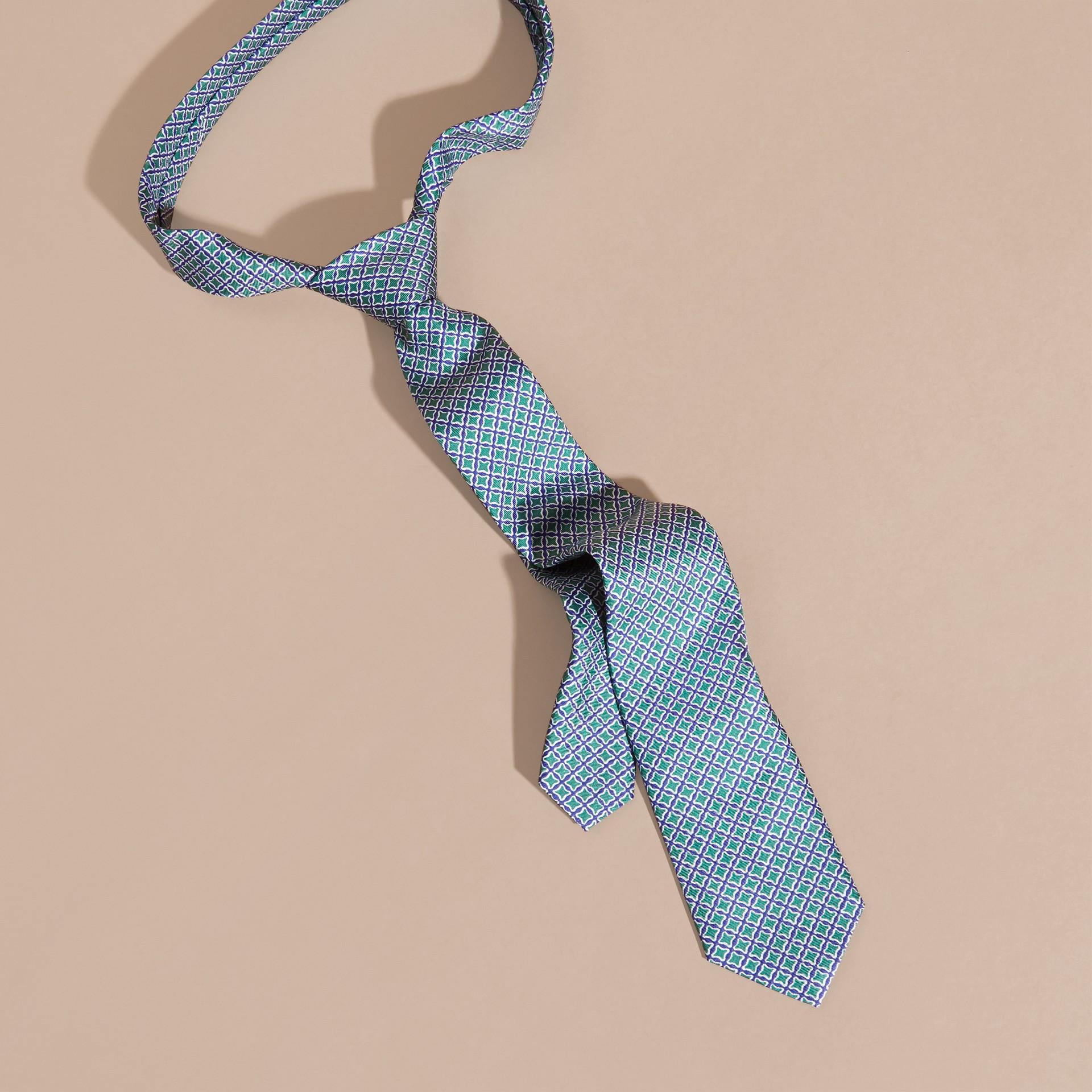 Viridian green Slim Cut Geometric Print Silk Tie - gallery image 3