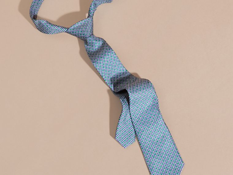 Viridian green Slim Cut Geometric Print Silk Tie - cell image 2