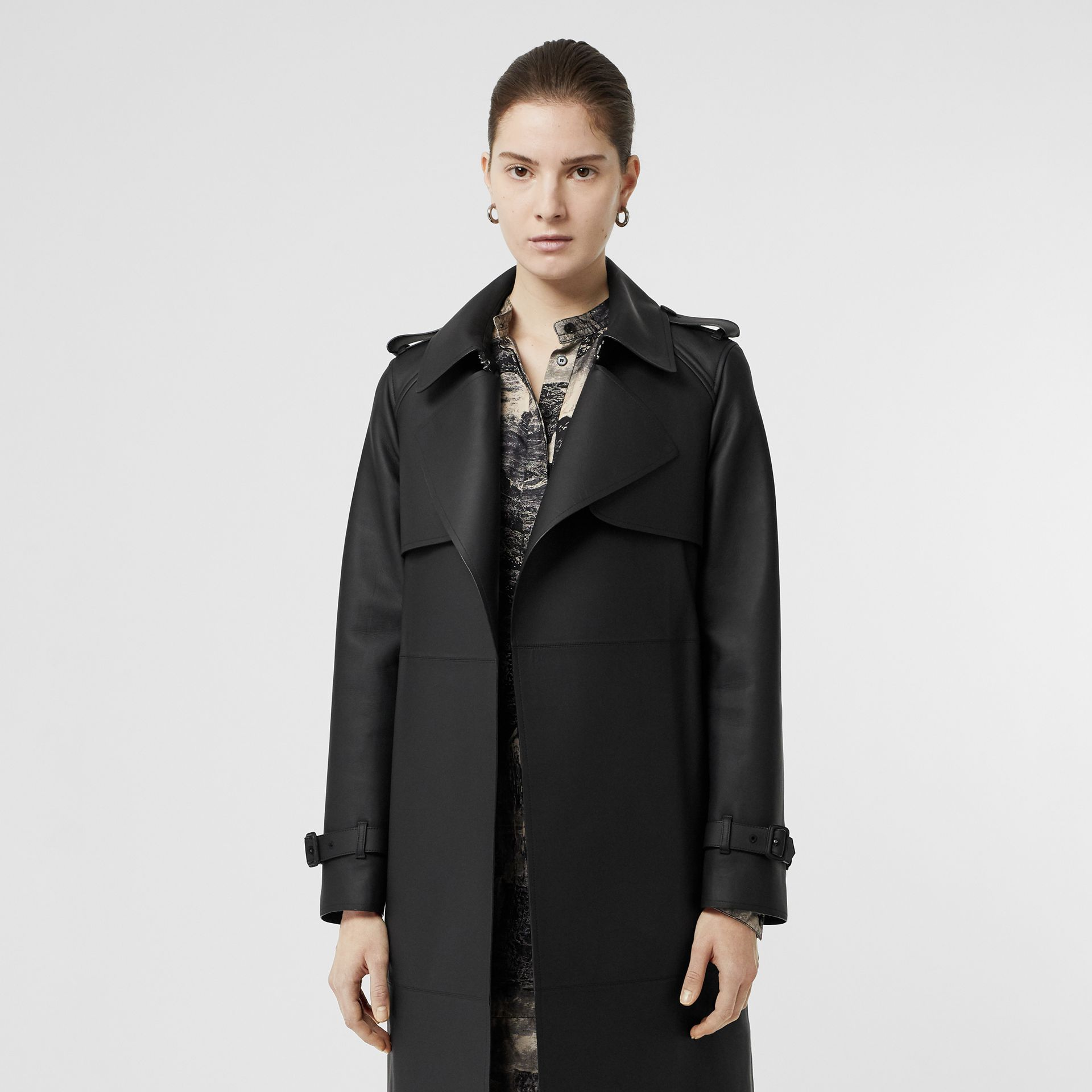 Lambskin Wrap Trench Coat in Black - Women | Burberry - gallery image 6