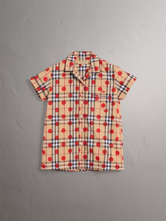 Short-sleeve Spot Print Check Cotton Shirt in Parade Red - Women | Burberry - cell image 3