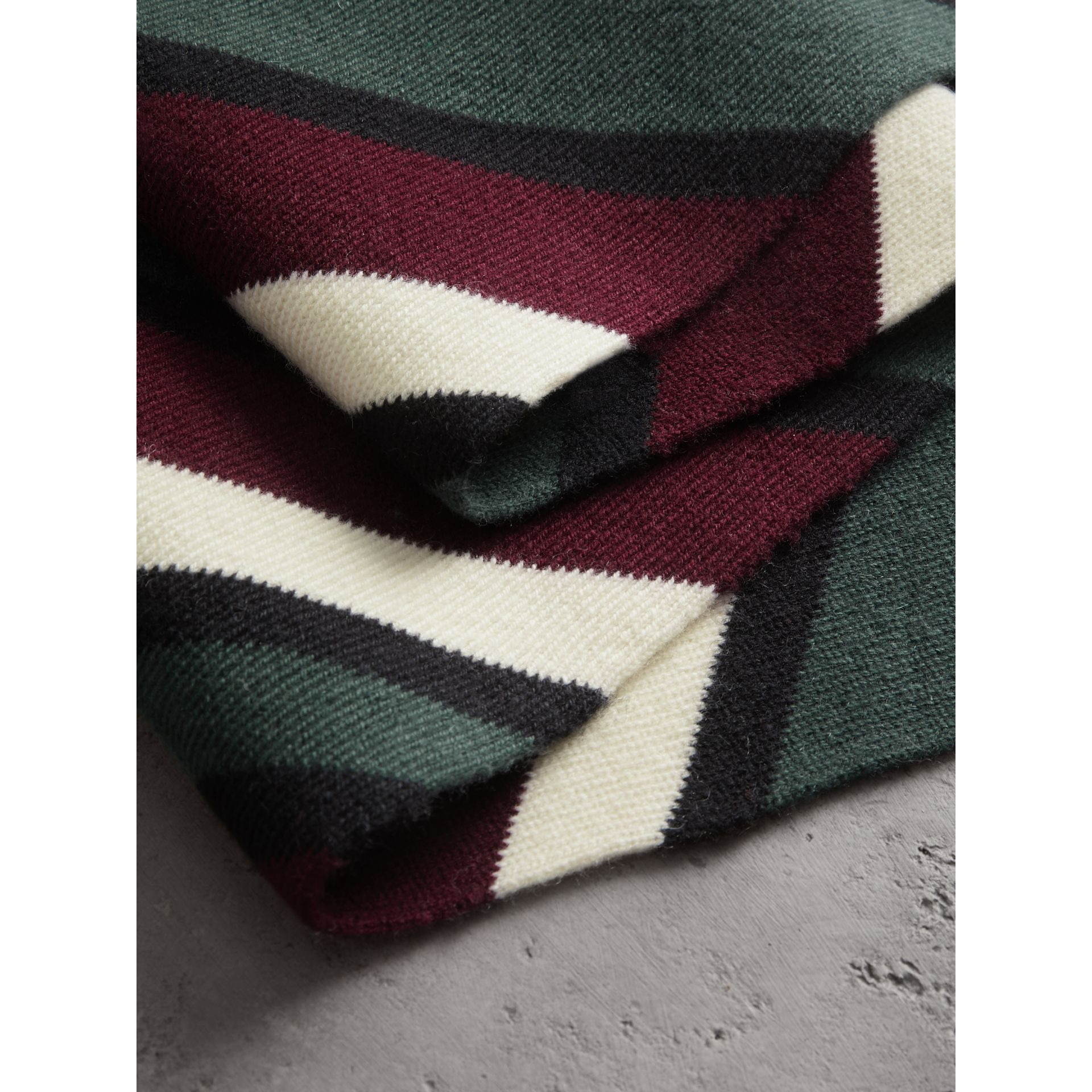 Tri-tone Striped Wool Cashmere Scarf in Olive | Burberry - gallery image 1
