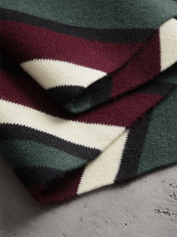 Tri-tone Striped Wool Cashmere Scarf in Olive | Burberry United Kingdom - cell image 1