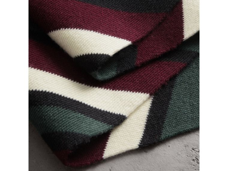Tri-tone Striped Wool Cashmere Scarf in Olive | Burberry - cell image 1