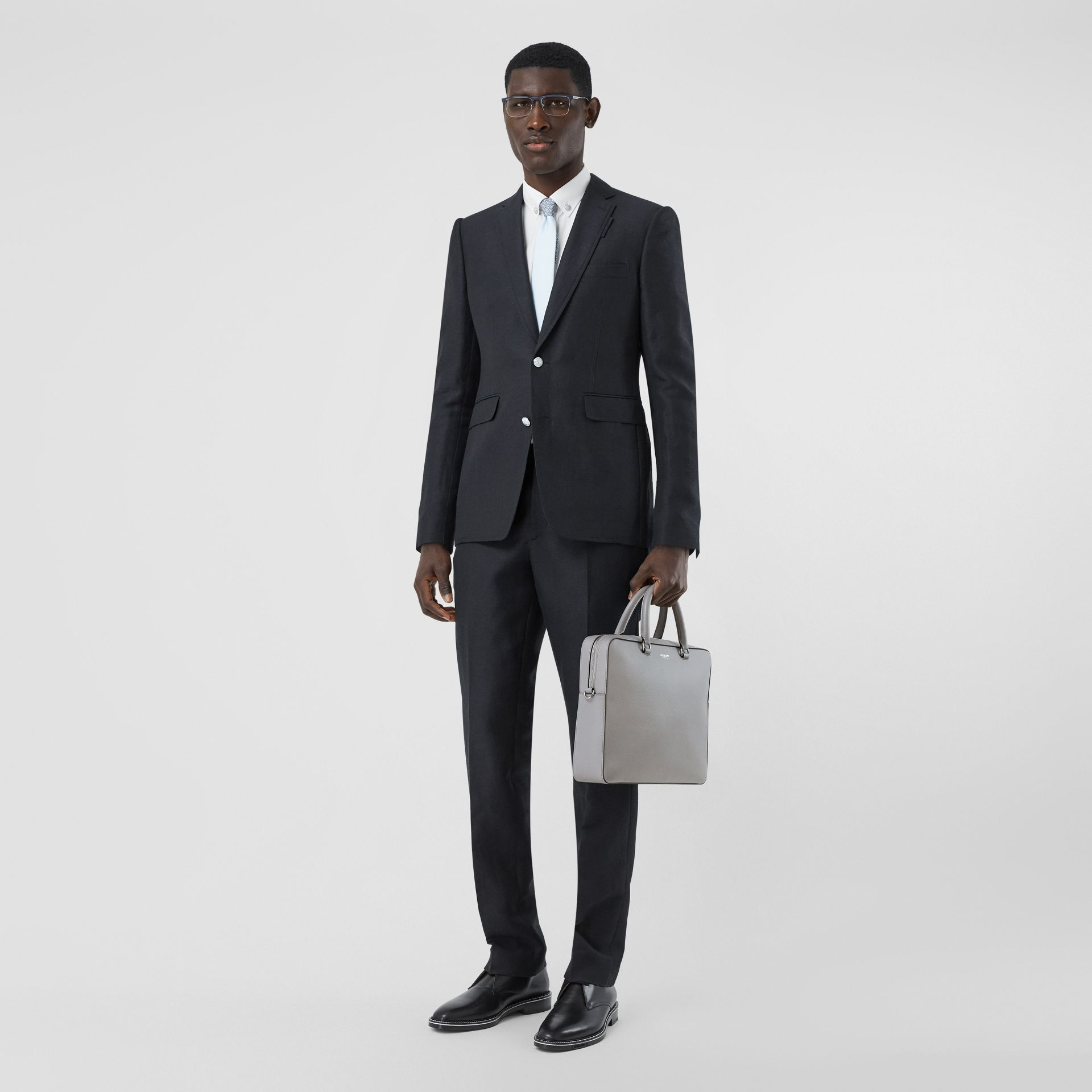 Grainy Leather Briefcase in Cloud Grey - Men | Burberry - gallery image 5