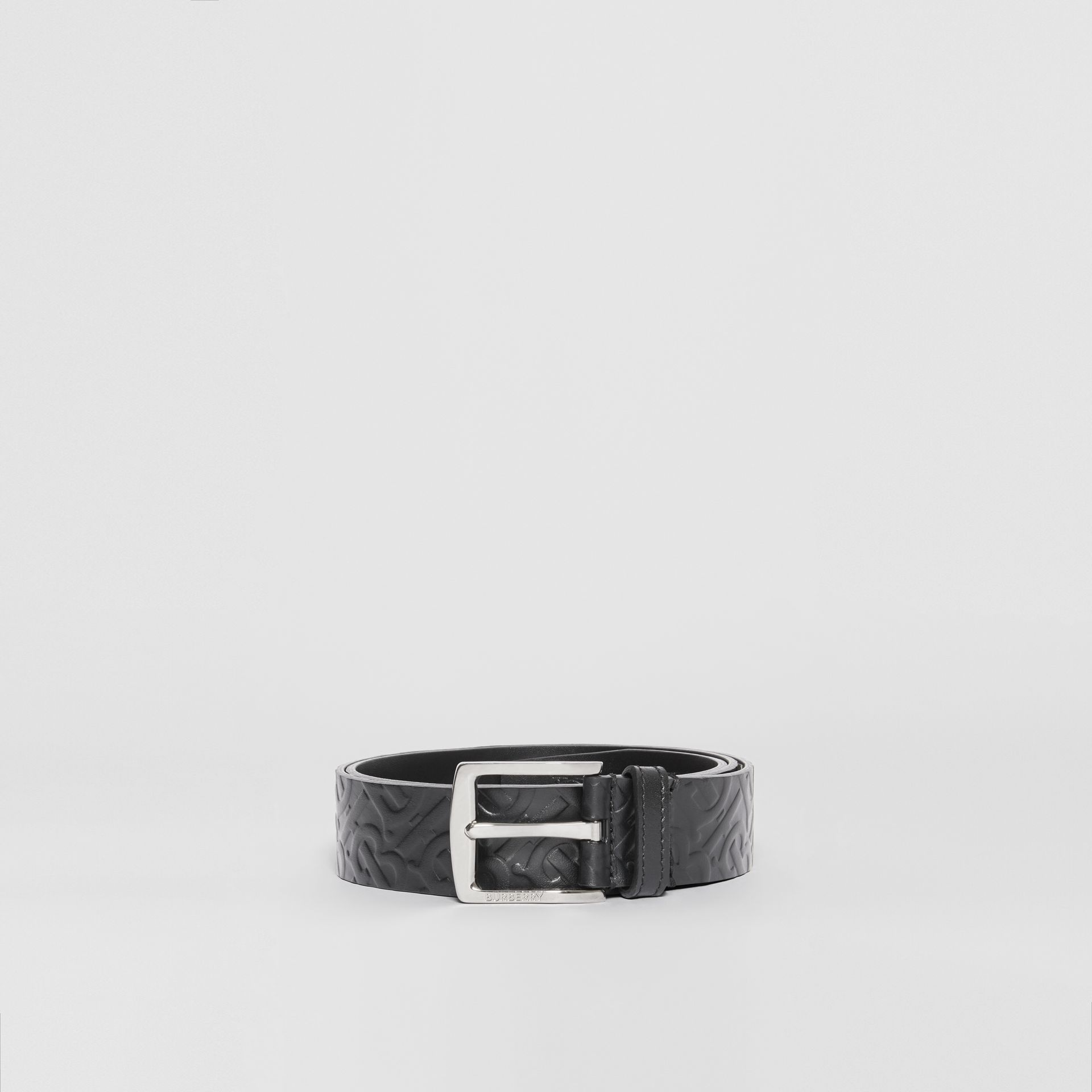 Monogram Leather Belt in Black - Men | Burberry - gallery image 3