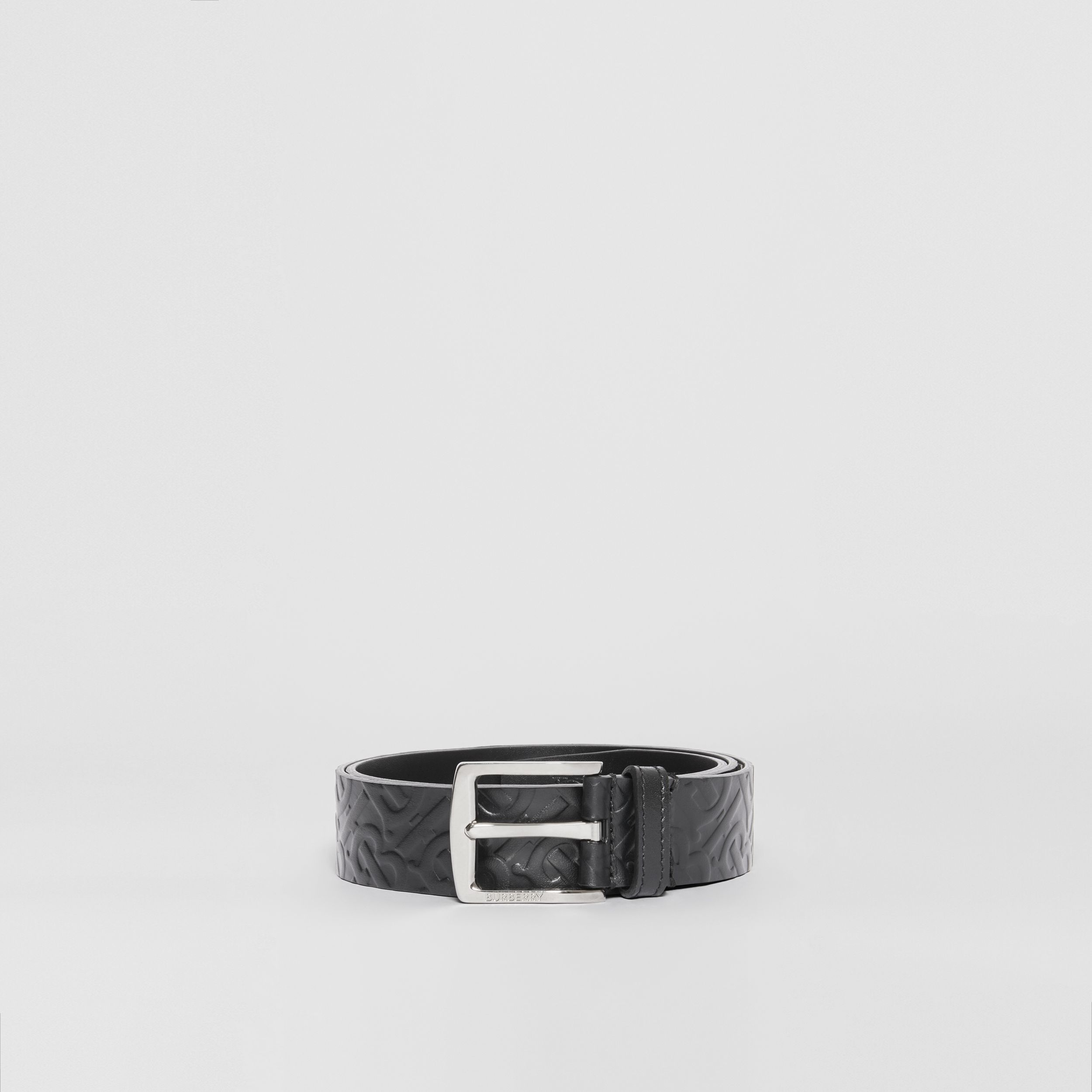 Monogram Leather Belt in Black - Men | Burberry - 4