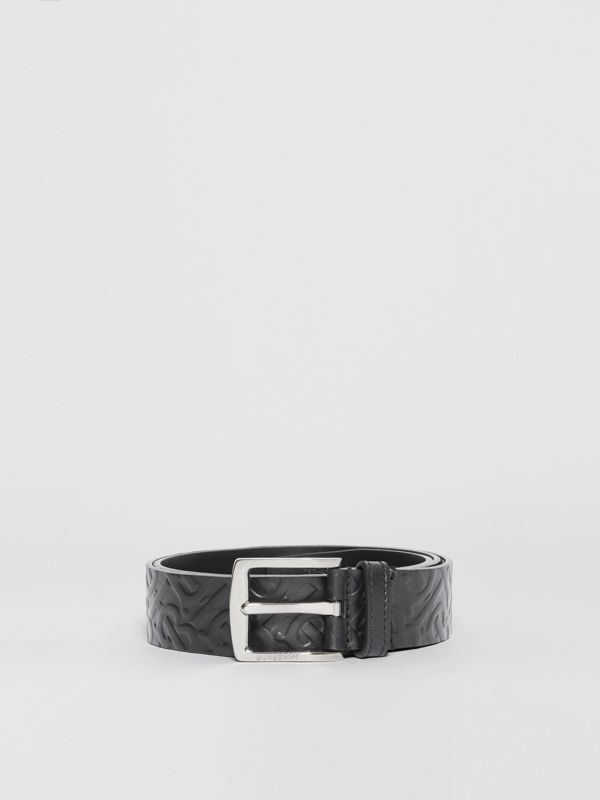 Monogram Leather Belt in Black - Men | Burberry Australia - cell image 3