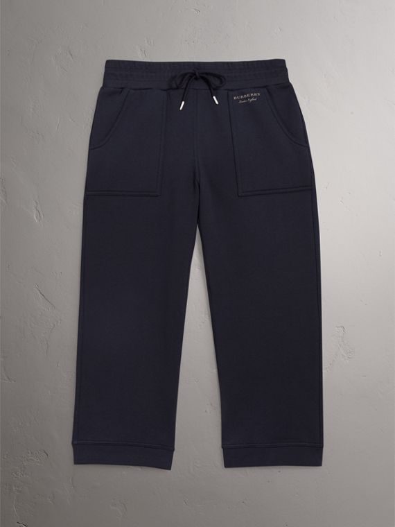 Cropped Jersey Sweatpants in Navy - Women | Burberry - cell image 3