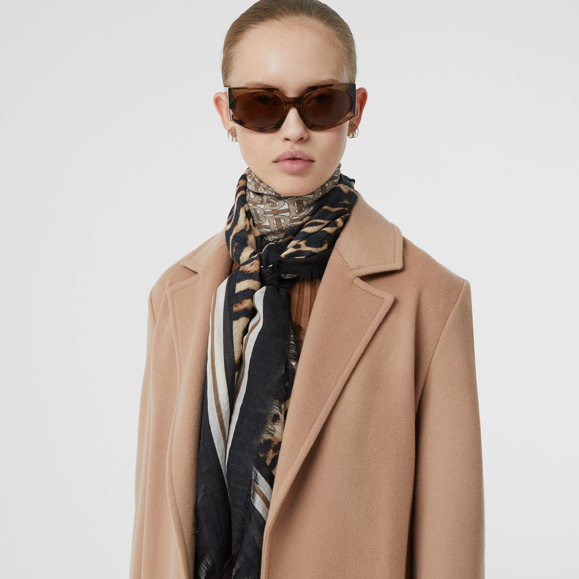 Monogram Print Wool Silk Large Square Scarf in Archive Beige | Burberry United States - gallery image 2