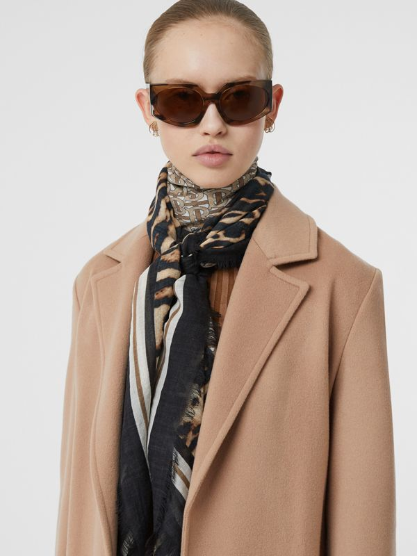 Monogram Print Wool Silk Large Square Scarf in Archive Beige | Burberry - cell image 2