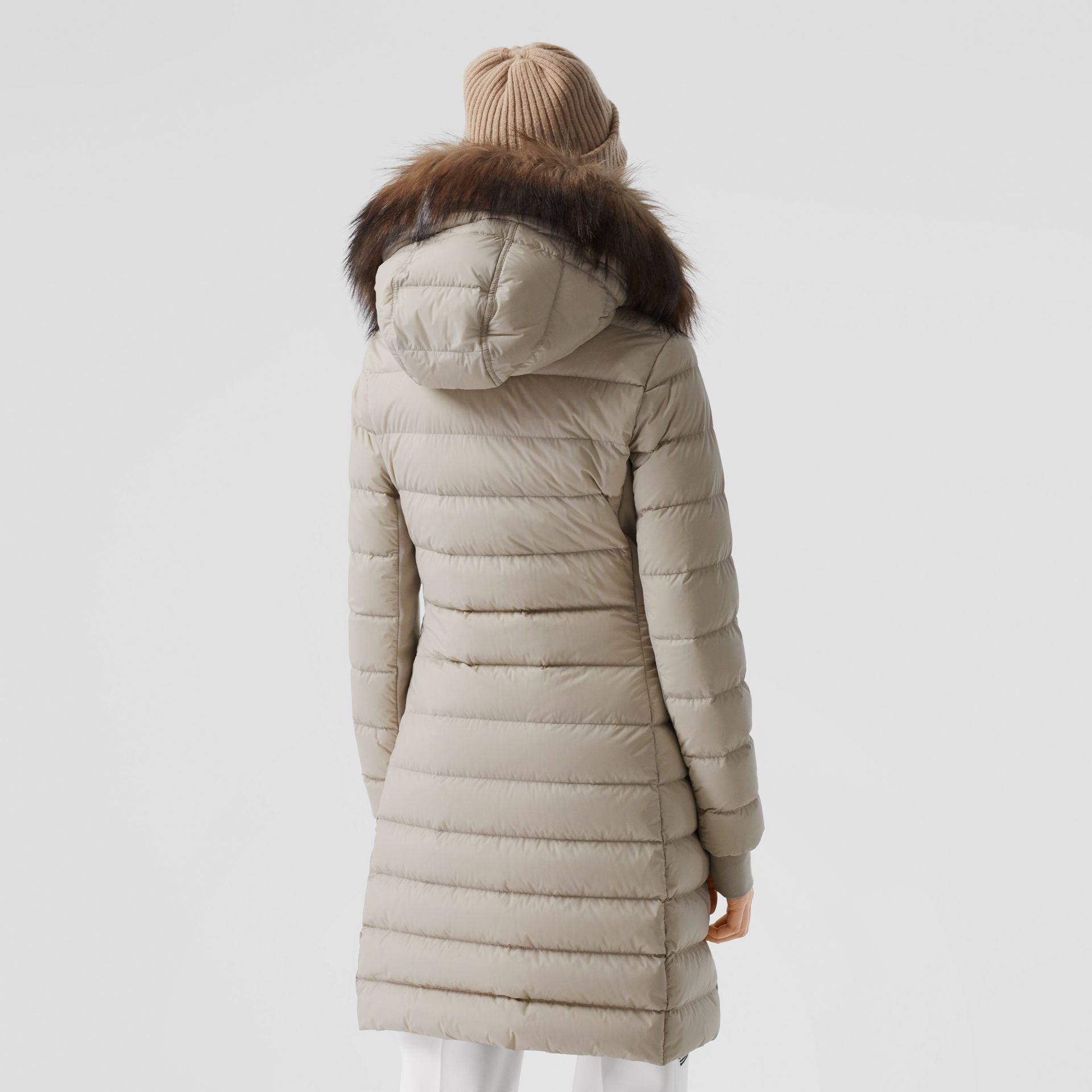 Detachable Faux Fur Trim Hooded Puffer Coat in Neutral Olive - Women | Burberry United Kingdom - gallery image 2