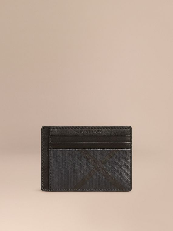 London Check Money Clip Card Case in Navy/black