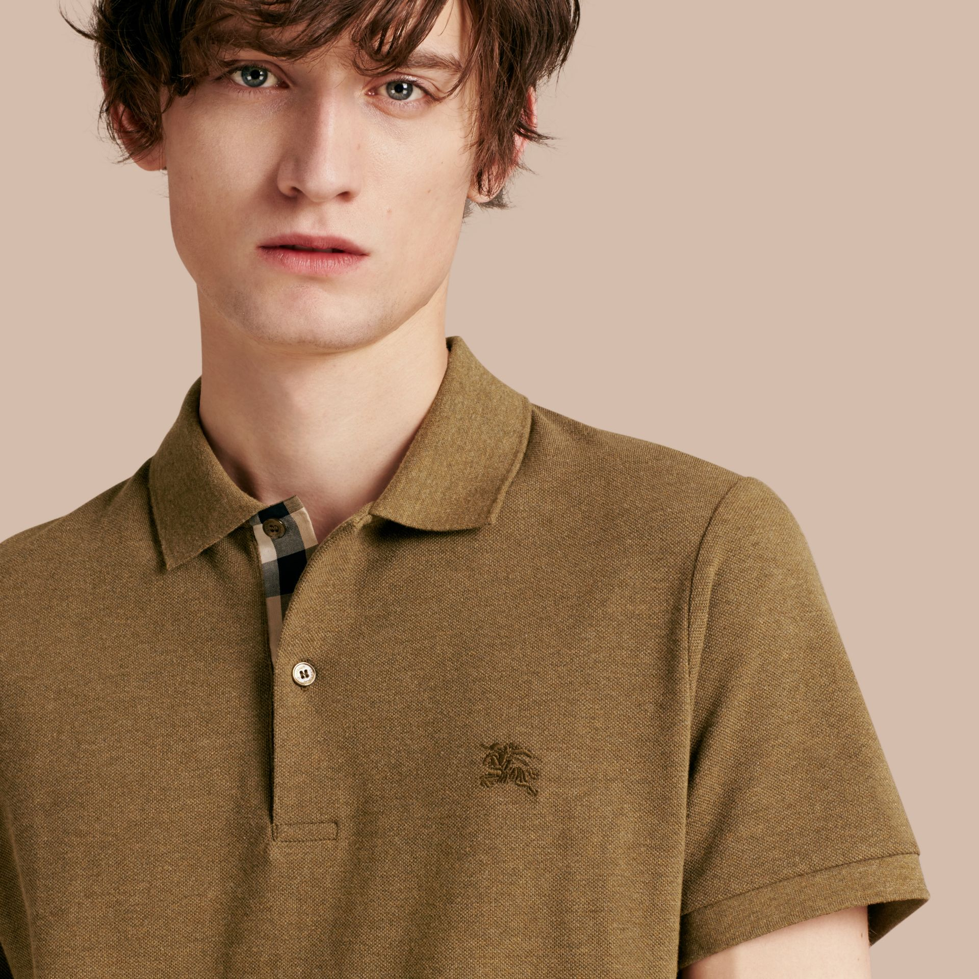 Military green melange Check Placket Cotton Piqué Polo Shirt Military Green Melange - gallery image 5