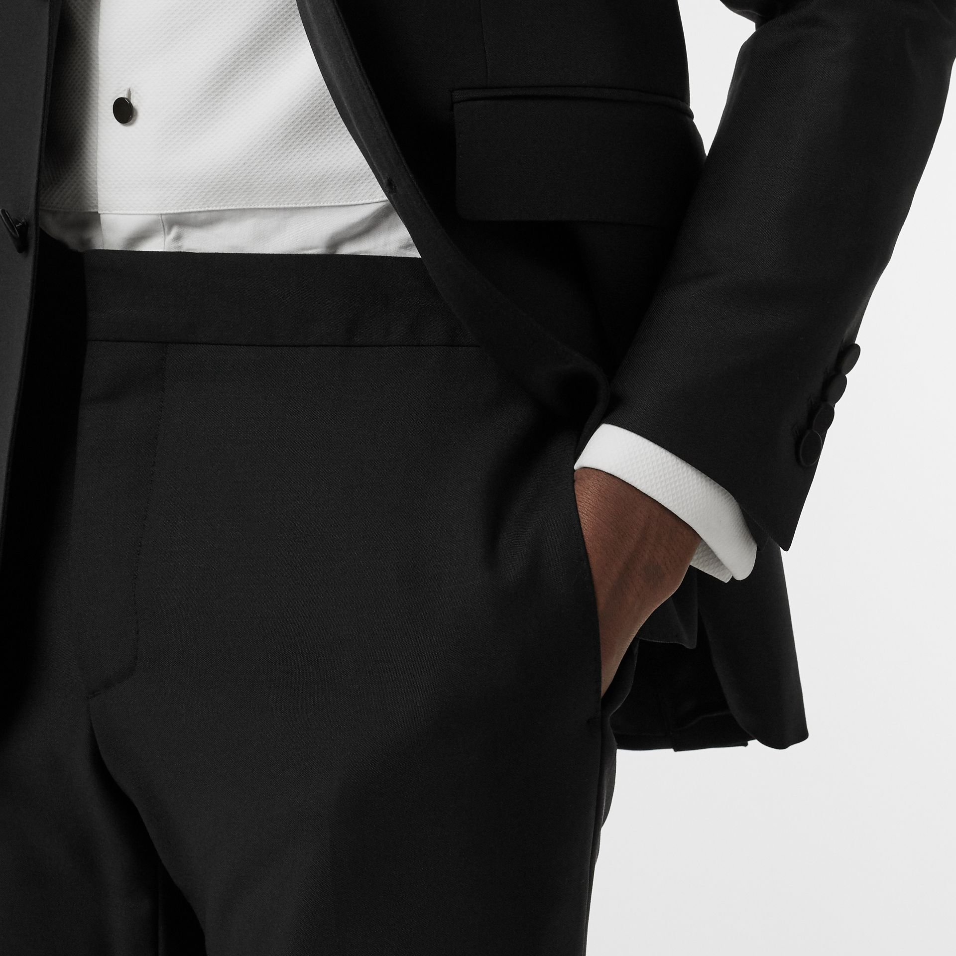 Modern Fit Wool Mohair Tuxedo in Black - Men | Burberry - gallery image 3