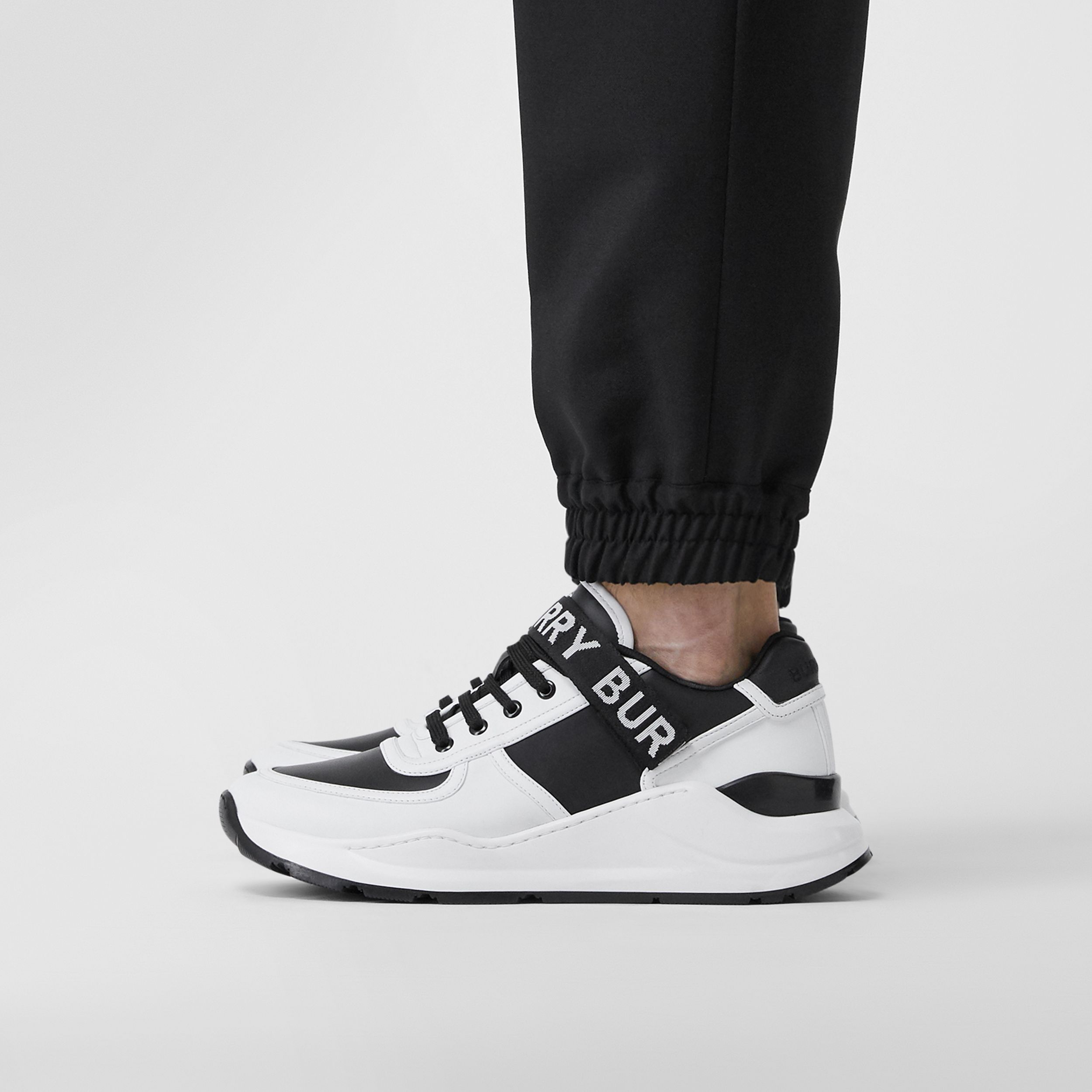 Logo Detail Leather and Nylon Sneakers in Black/optic White - Men | Burberry - 3