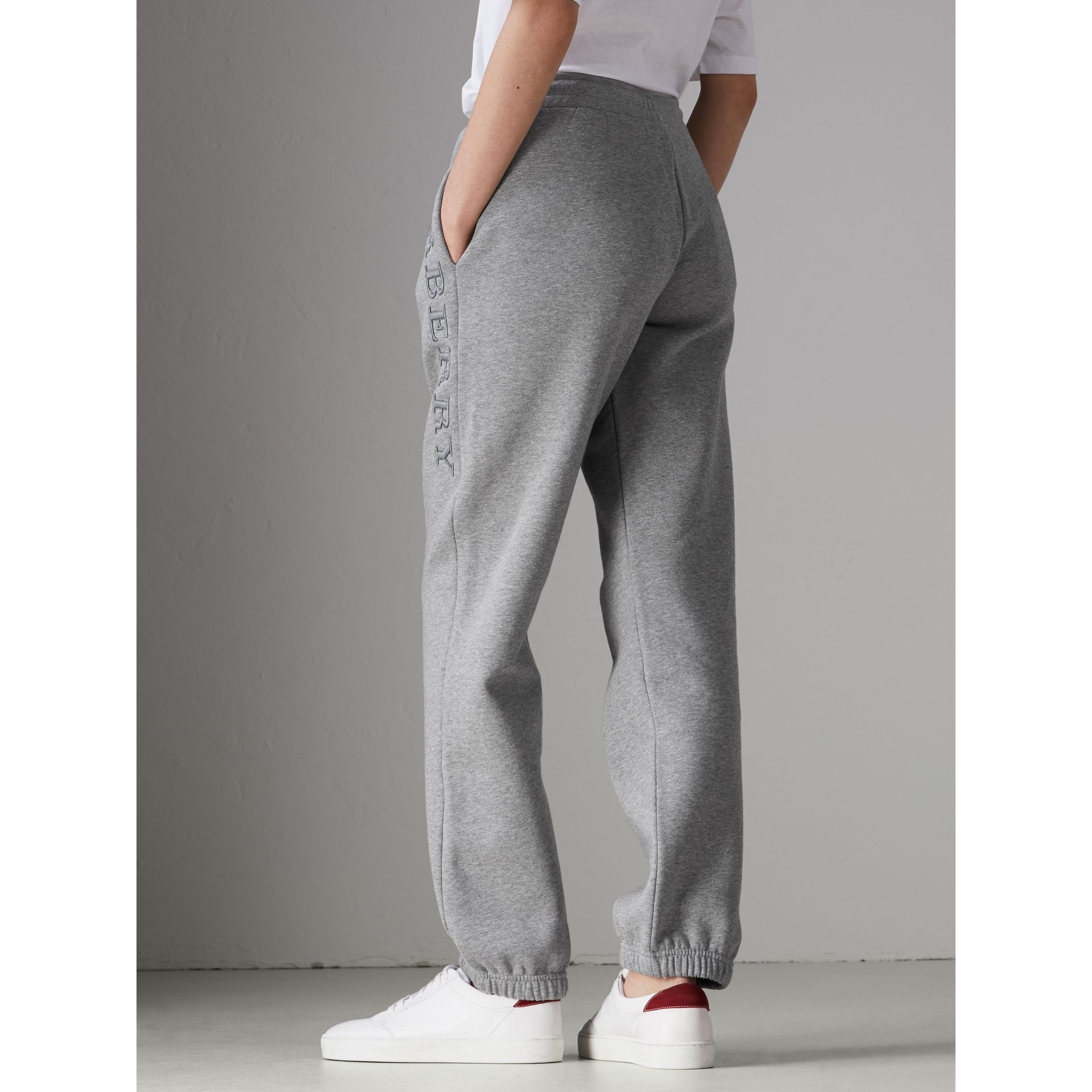 Embroidered Jersey Sweatpants in Pale Grey Melange - Women | Burberry United Kingdom - gallery image 2