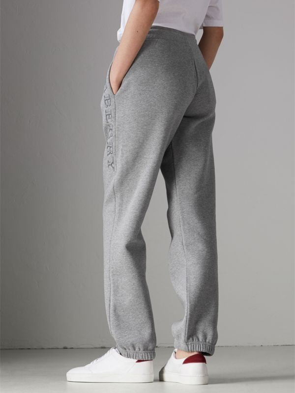 Embroidered Jersey Sweatpants in Pale Grey Melange - Women | Burberry United Kingdom - cell image 2